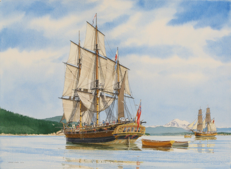 _HMS Discovery & Chatham_ watercolor by Steve Mayo
